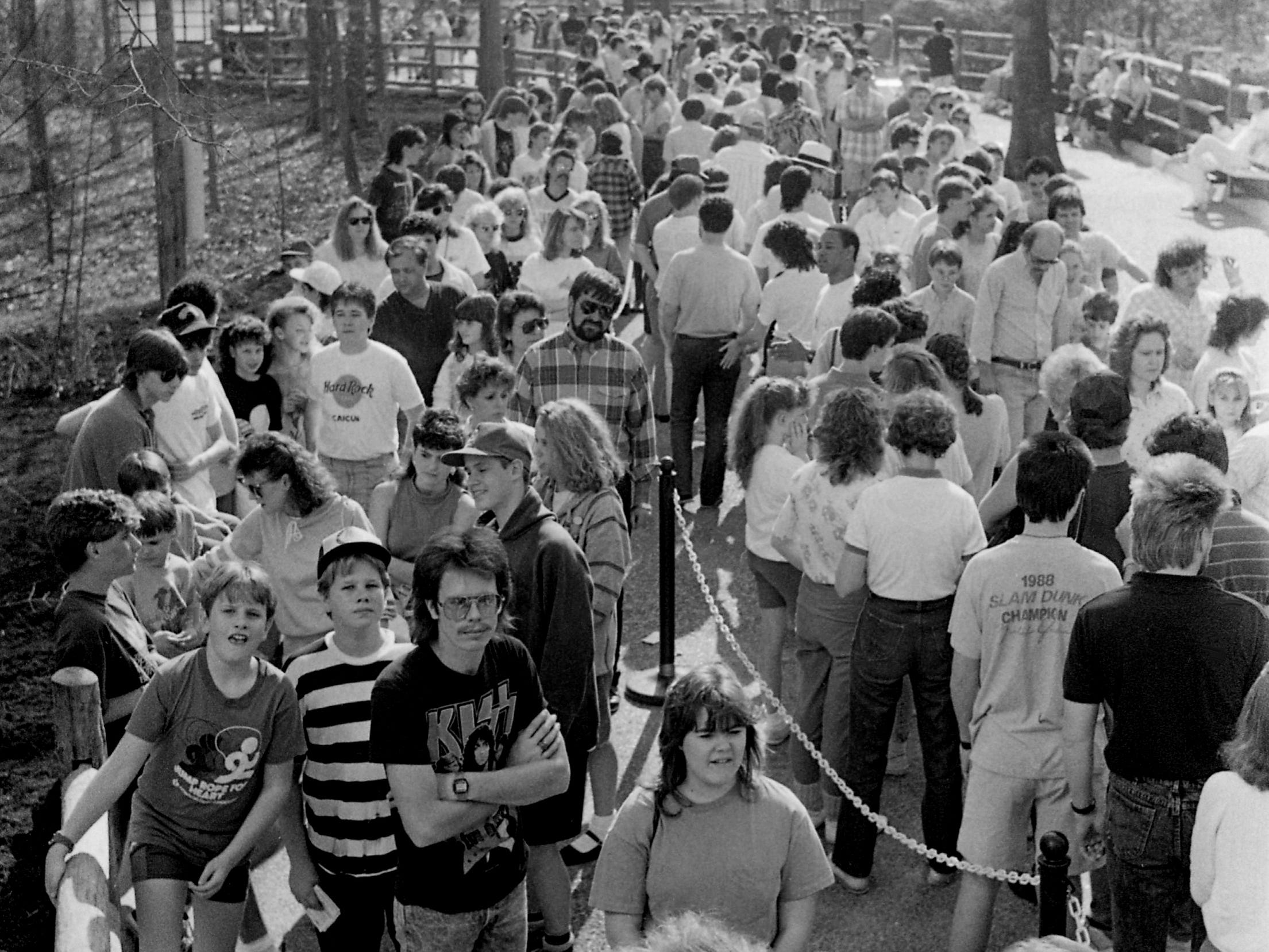 With picture-perfect weather, some of the thousands of folks wait in line for the debut of Opryland U.S.A. theme park's new $7 million ride, Chaos, on opening day of the 18th season March 25, 1989.
