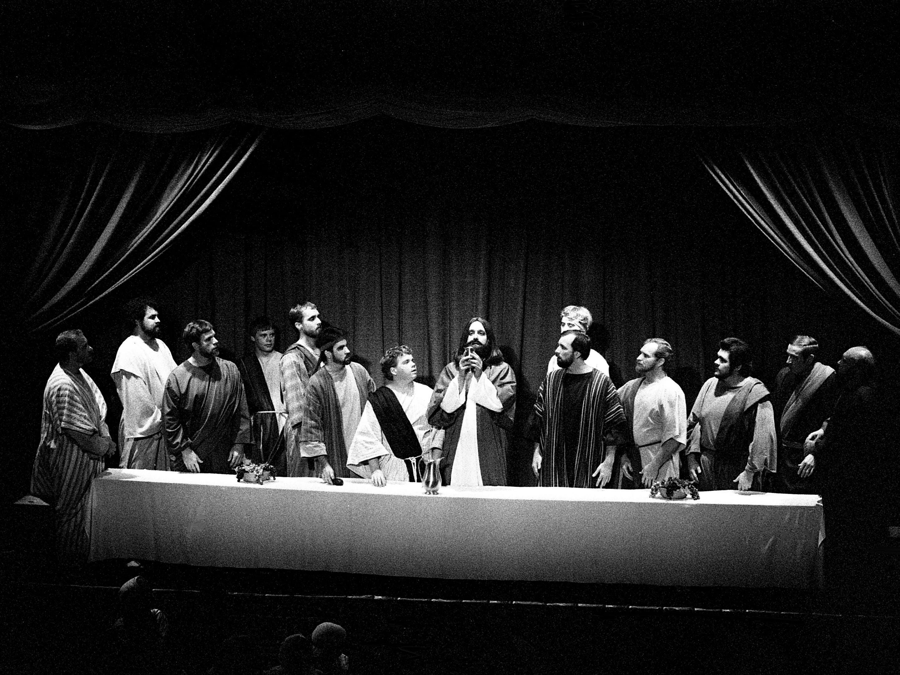 Jesus, portrayed by Bill Hart, center, shares his Last Supper with his apostles during the annual Passion play presented by the Grace Church of the Nazarene on Pennington Bend Road on  March 24, 1989. It is one of the more noted observances of Easter in the Nashville area.