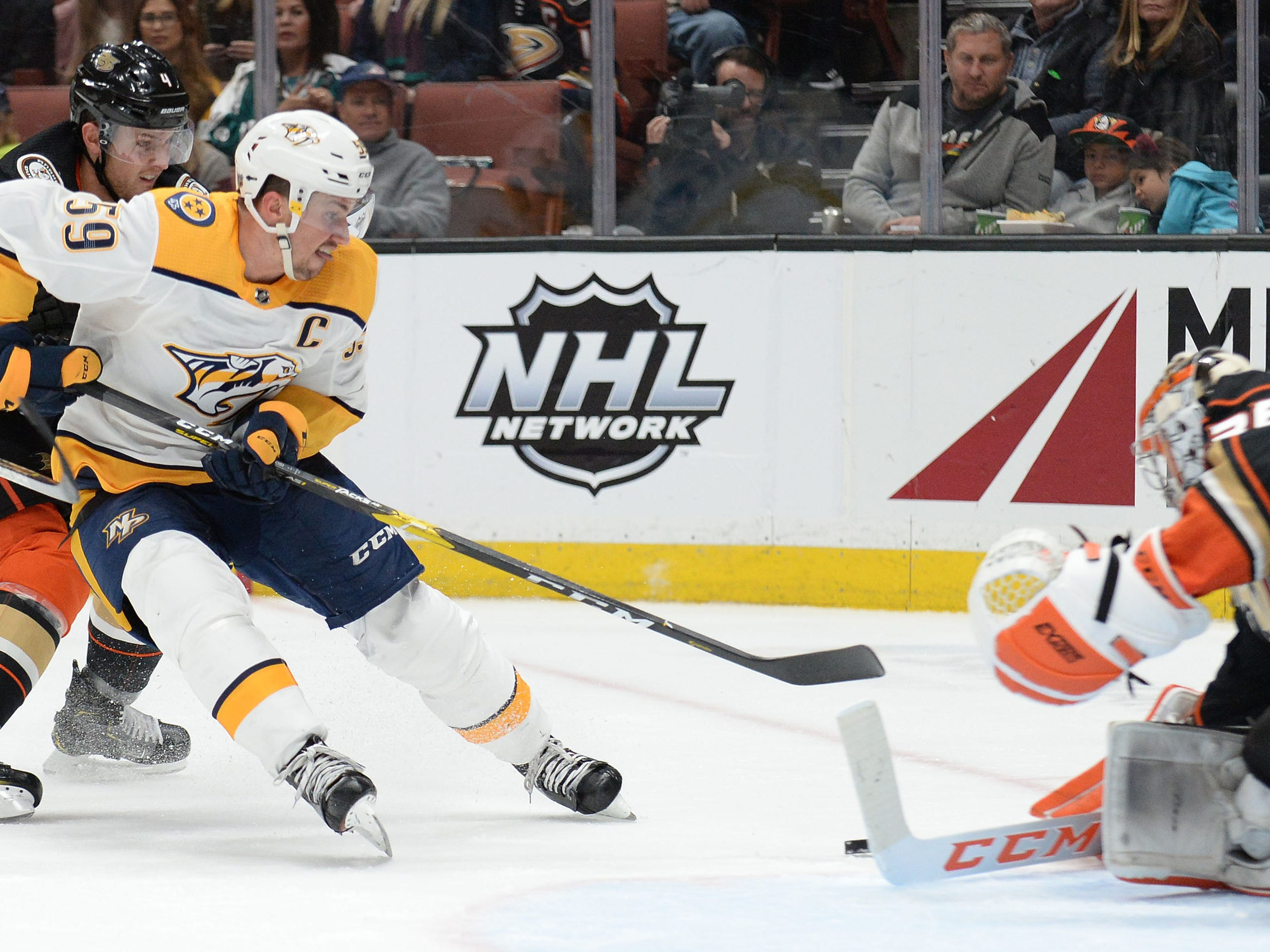 Nashville Predators defenseman Roman Josi (59) moves in on goal against Anaheim Ducks goaltender John Gibson (36) during the third period at Honda Center.
