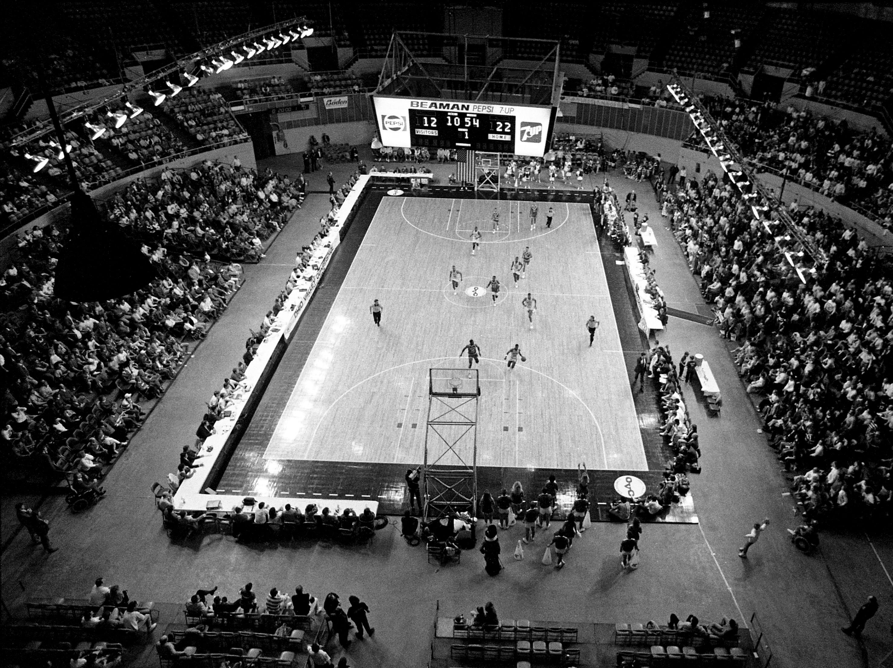 A crowd of 4,200 fans watch early action of Middle Tennessee State dramatic 82-79 come-from-behind victory over Austin Peay at Municipal Auditorium on March 9, 1989. MTSU improved their record to 22-7 and earned the league's automatic bid to the NCAA Tournament.