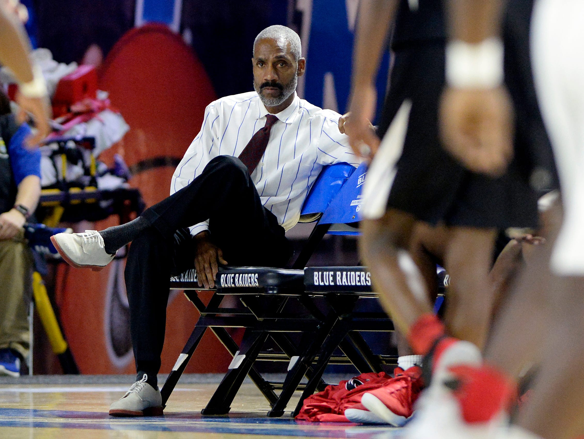 Pearl-Cohn assistant coach James Shelton watches the action from the bench during the first half of a Class AA boys state basketball quarterfinal game against Brainerd Wednesday, March 13, 2019, in Murfreesboro, Tenn.
