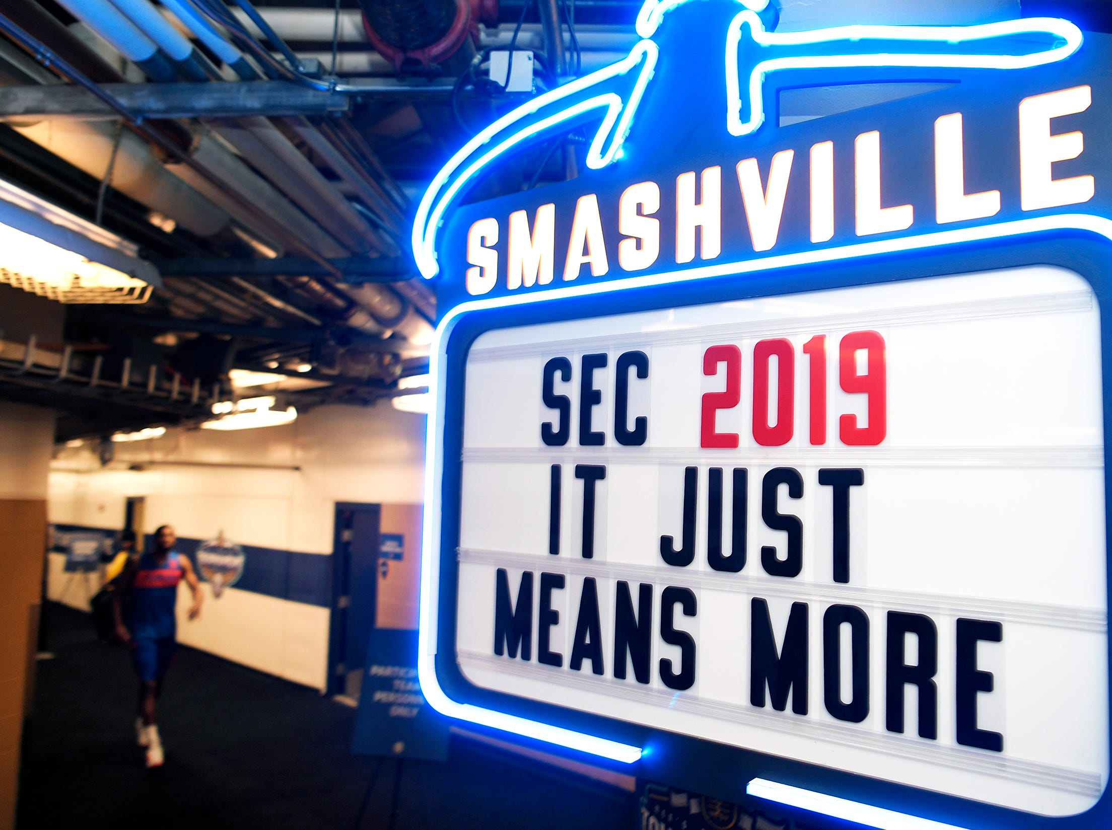 This neon sign is posted near the team locker rooms inside Bridgestone Arena at the 2019 SEC Men's Basketball Tournament in Nashville on Wednesday, March 13, 2019.
