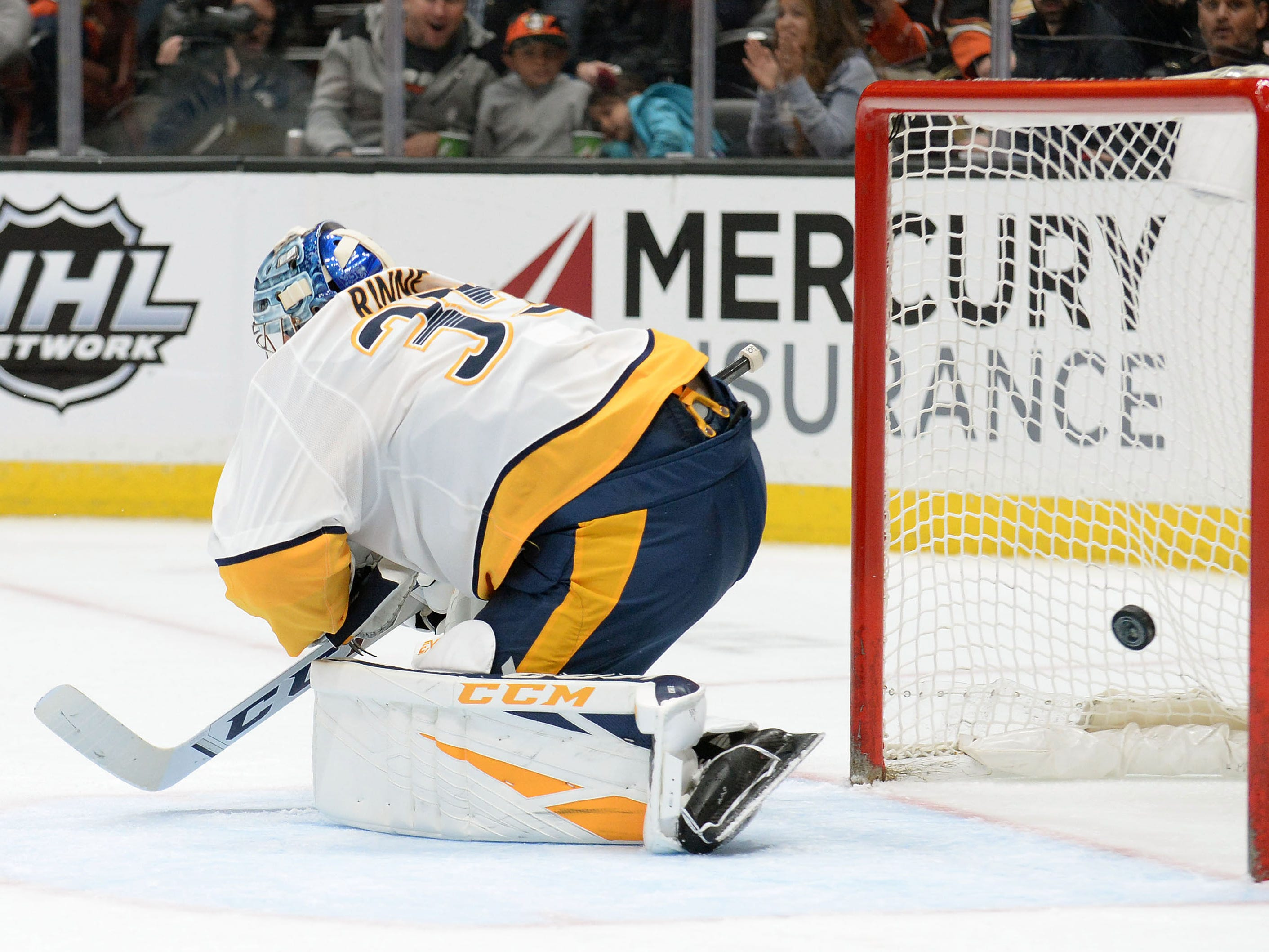 Nashville Predators goaltender Pekka Rinne (35) allows a goal scored by Anaheim Ducks right wing Daniel Sprong (11) during the second period at Honda Center.