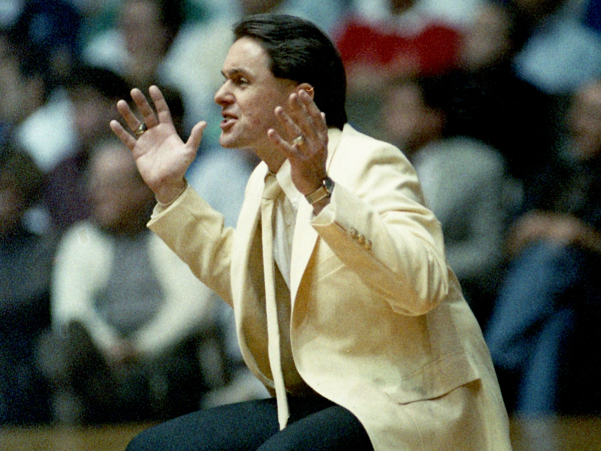 Middle Tennessee State head coach Bruce Stewart shouts instructions to his players, but it wasn't enough as the Blue Raiders fall 104-88 to Virginia in the second round of the NCAA Southeast Regional before a crowd of 13,543 at Vanderbilt's Memorial Gym on March 18, 1989.