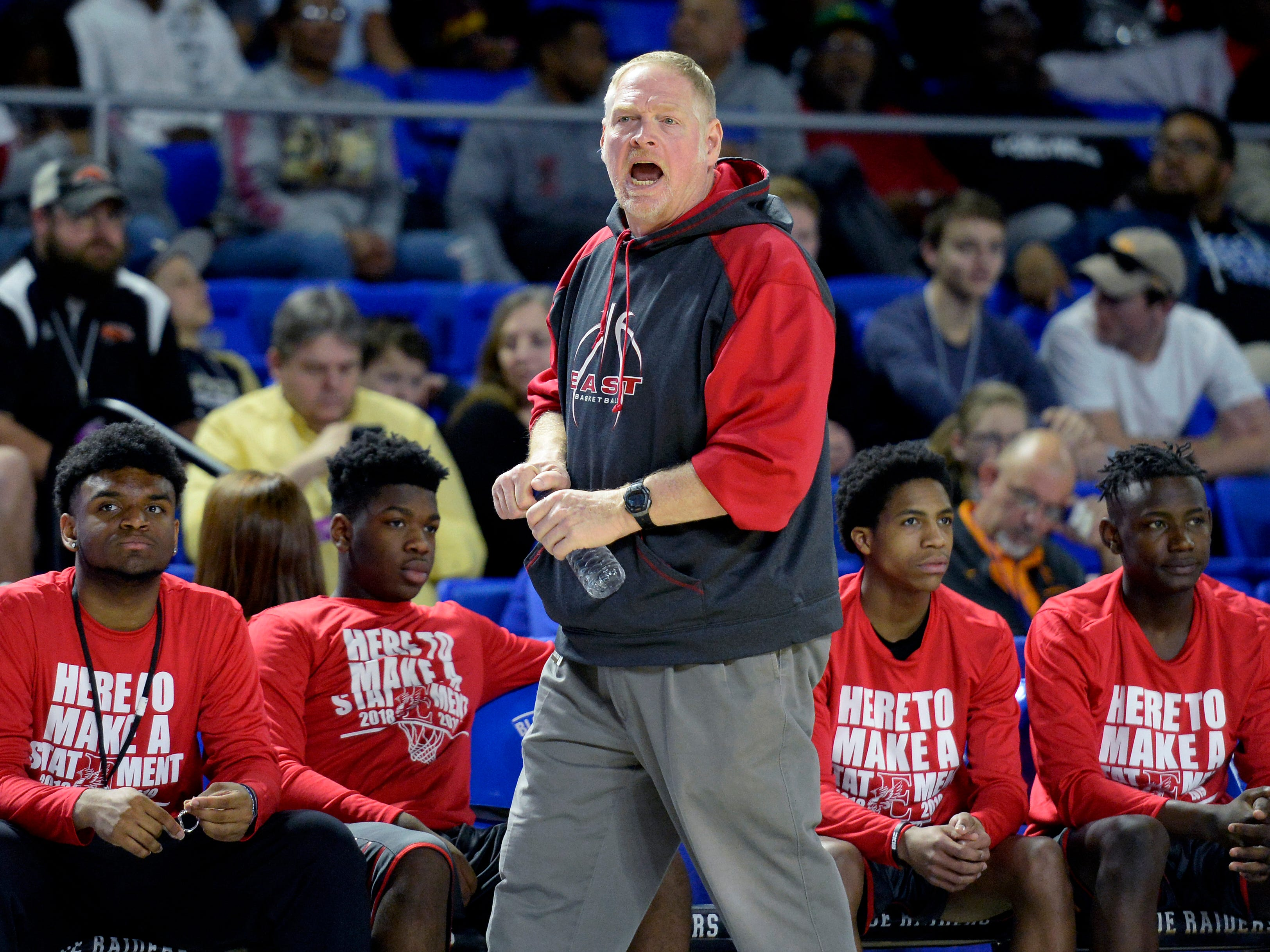 East Nashville head coach Jim Fey yells to his players during the second half of an Class AA boys' state basketball quarterfinal game against Howard Wednesday, March 13, 2019, in Murfreesboro, Tenn. East Nashville won 78-75.