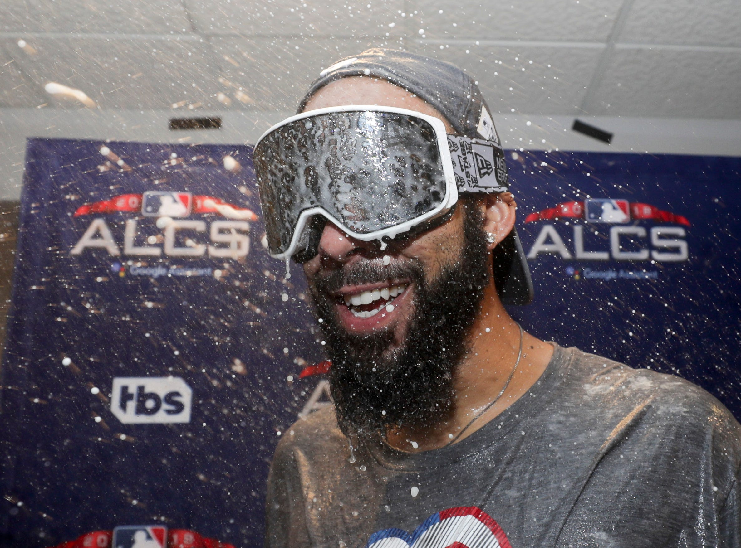 Boston Red Sox starting pitcher David Price celebrates after winning the American League Championship Series against the Houston Astros on Thursday, Oct. 18, 2018, in Houston.