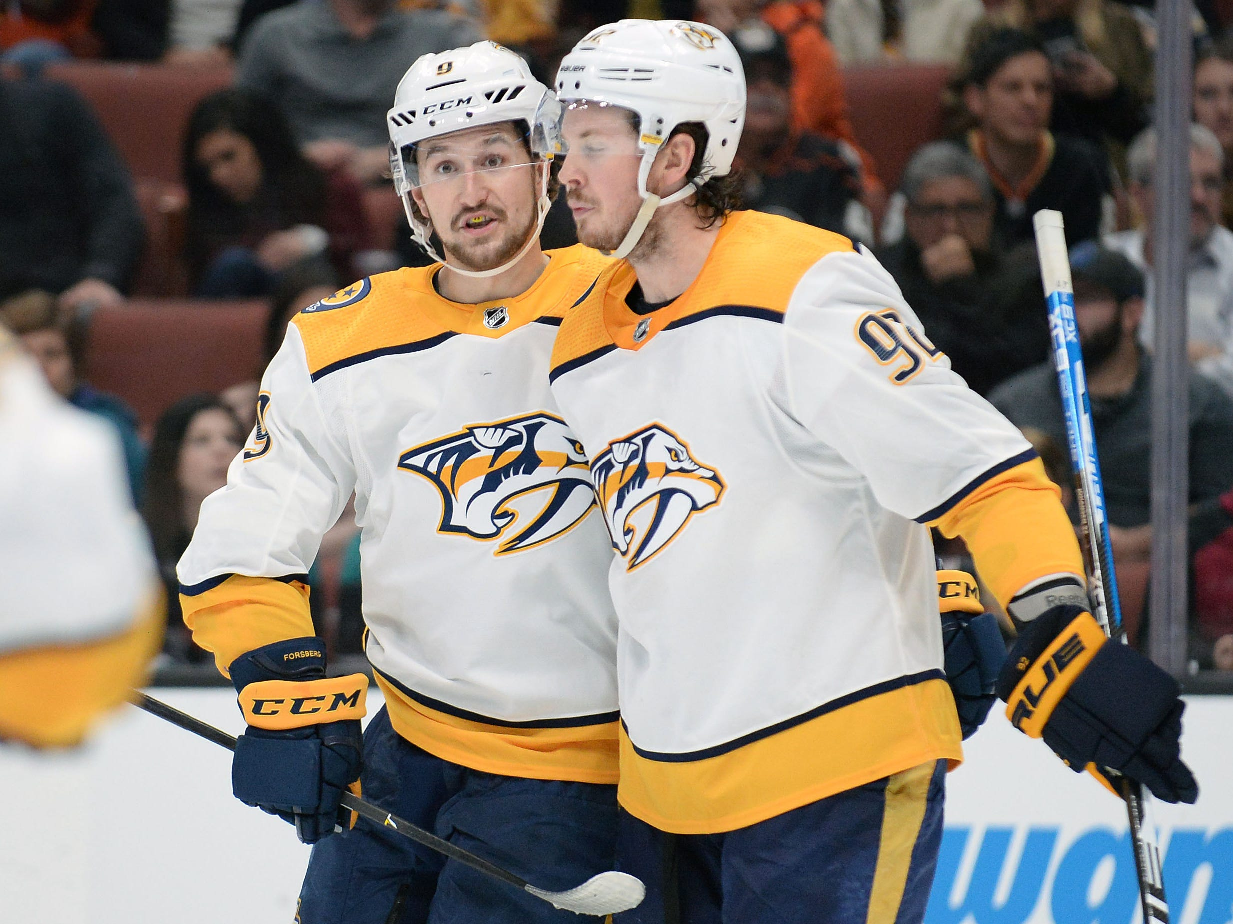 March 12, 2019: Ducks 3, Predators 2 -- Nashville Predators left wing Filip Forsberg (9) celebrates with center Ryan Johansen (92)  his first power play goal of the game scored against the Anaheim Ducks during the third period at Honda Center.