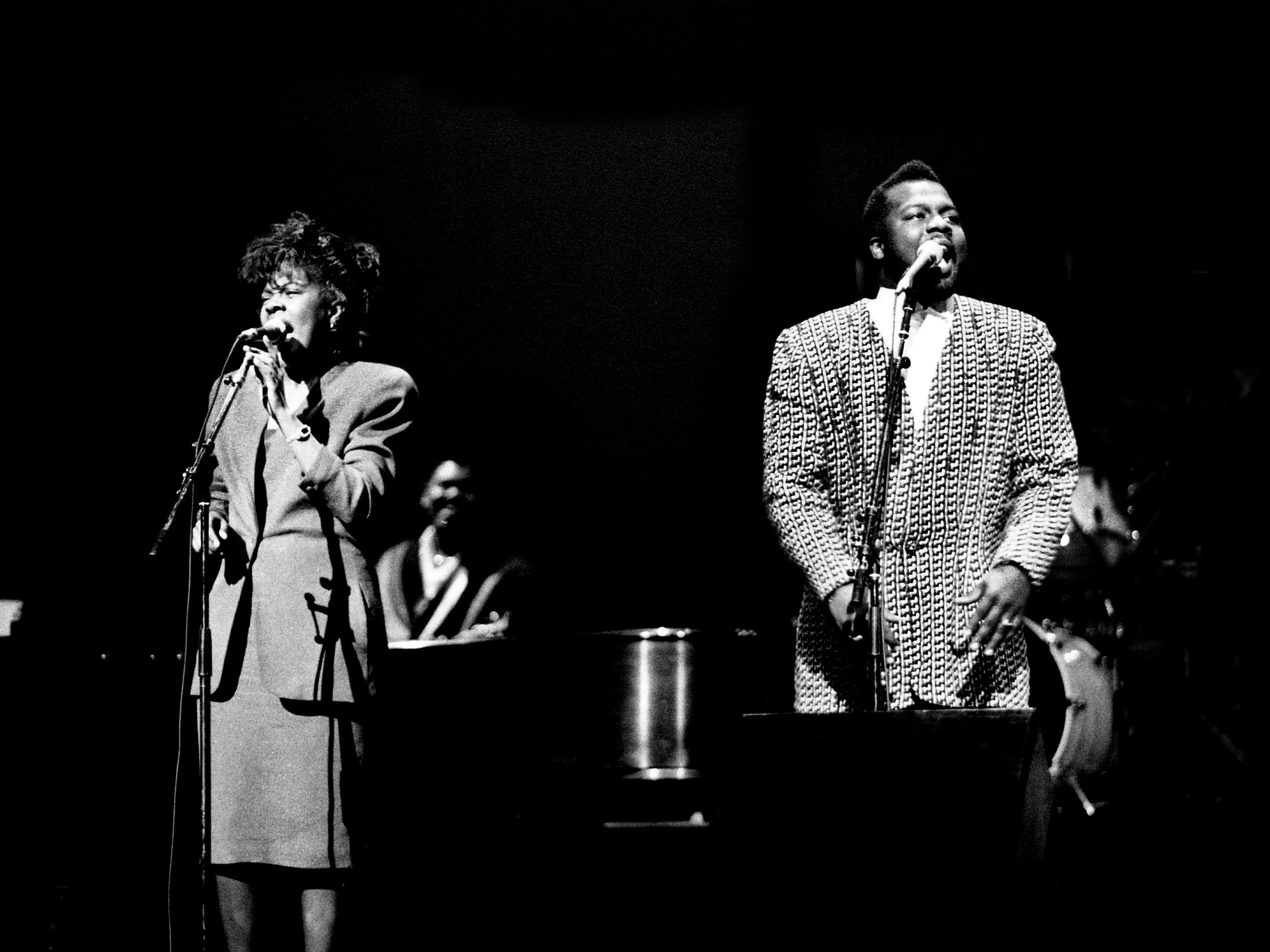 """CeCe and BeBe Winans perform """"Heaven,"""" the title tune from their new LP, during a sold-out concert at the Tennessee Performing Arts Center on March 19, 1989. The show was the first big benefit for the Association for Retarded Citizens."""