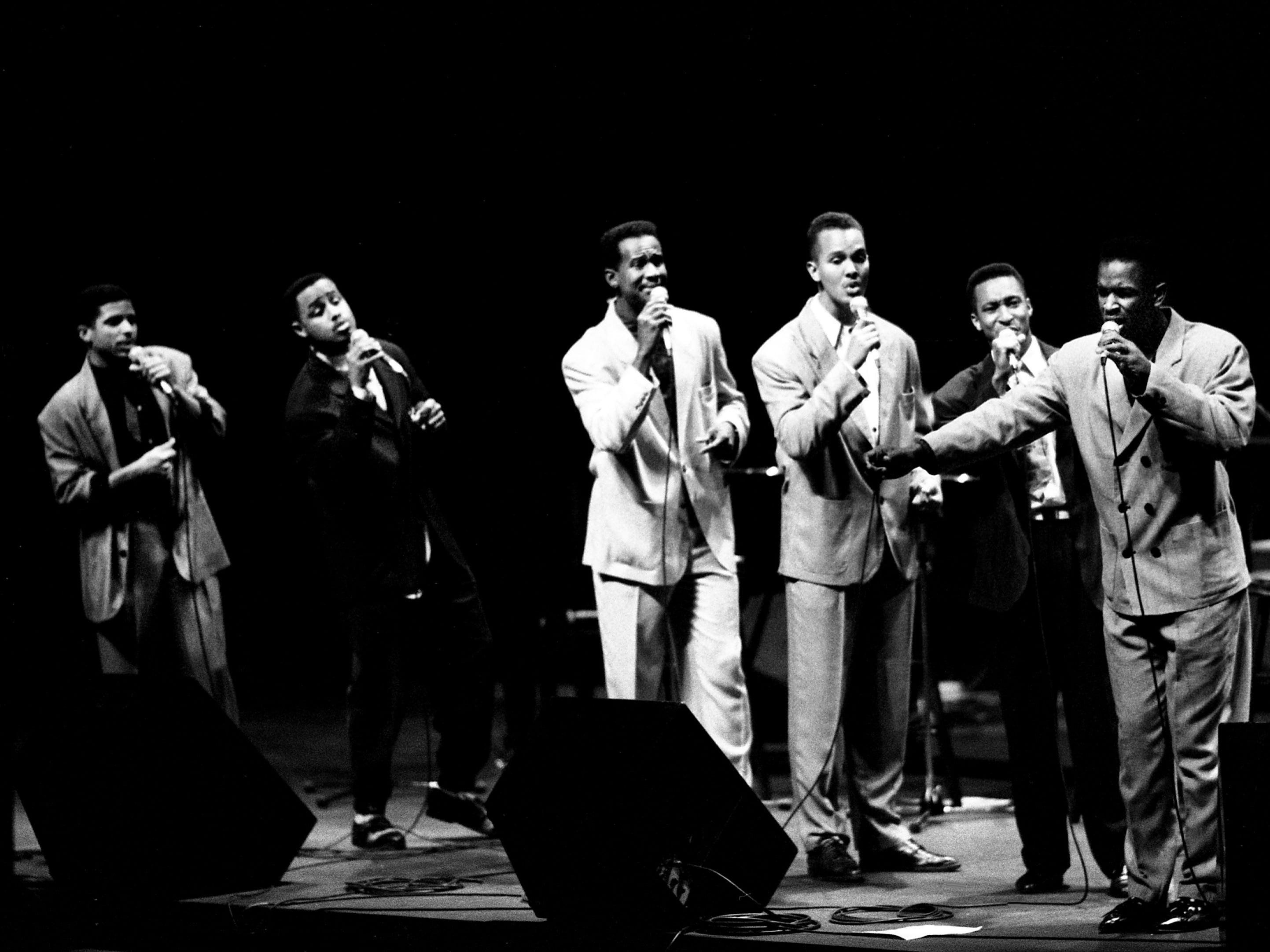 Take 6, who walked off with two Grammy Awards in February after less than a year in professional music, performs before a hometown crowd during a sold-out concert at the Tennessee Performing Arts Center on March 19, 1989.