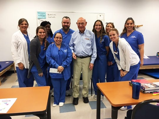 Bob Mandell of the Stroke Recovery Foundation meeting with students in the Occupational Therapy Assistant Program at Keiser University in Fort Myers.