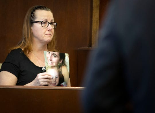 Lynne Engelsen, the mother of Kelsey Engelsen provides a victim's statement during the sentencing for Carlos Rodriguez at the Collier County Courthouse, Wednesday, March 13, 2019. Rodriguez was sentenced to life in prison.