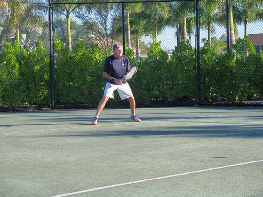 At 73, Eric Thom is the youngster of the group of tennis players that competes three times a week at Vi at Bentley Village.