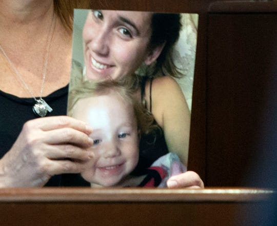 A close-up photo of a picture of Kelsey Engelsen at the Collier County Courthouse during the sentencing for the man found guilty of killing her, Wednesday, March 13, 2019. Carlos Rodriguez was sentenced to life in prison.