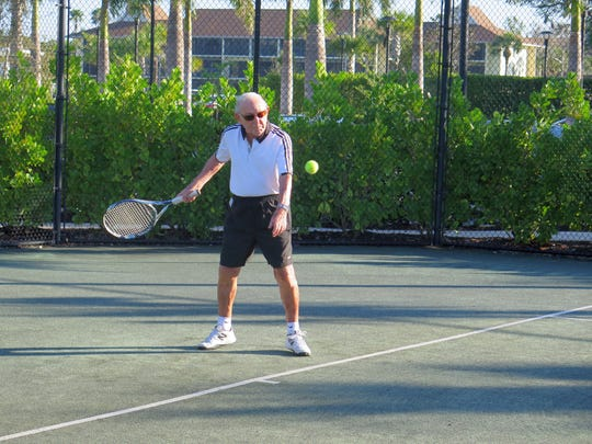 Don Feiman, 93, is the oldest member amidst the group of tennis players that meets three times a week at Vi at Bentley Village.
