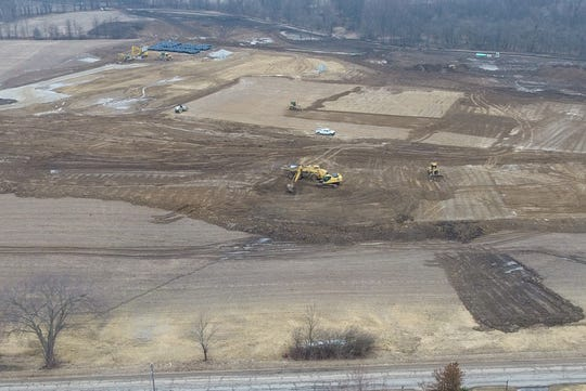 This drone photo shows the emerging pad and footprint for the new Licking Heights High School.
