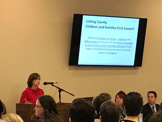 Cindy Webb, of Children & Families First Council, speaks at a United Way of Licking County forum on early childhood trauma on Wednesday, March 13, 2019.