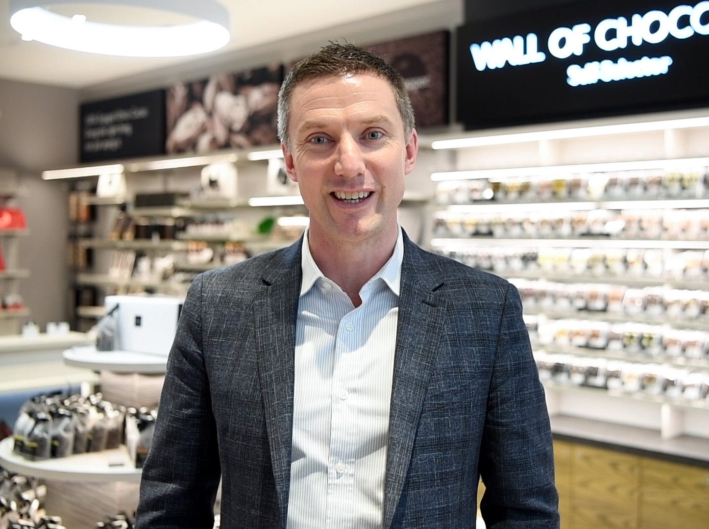 Brendan Drake, U.S. CEO fo Hotel Chocolat, at the store opening in Westfield Garden State Plaza on Wednesday, March 13, 2019, in Paramus. This is the second store the U.K.-based company has opened in the United States.