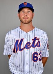 Feb 21, 2019; Port St. Lucie, FL, USA; New York Mets pitcher Tim Peterson (29) poses for a photo on photo day at First Data Field.