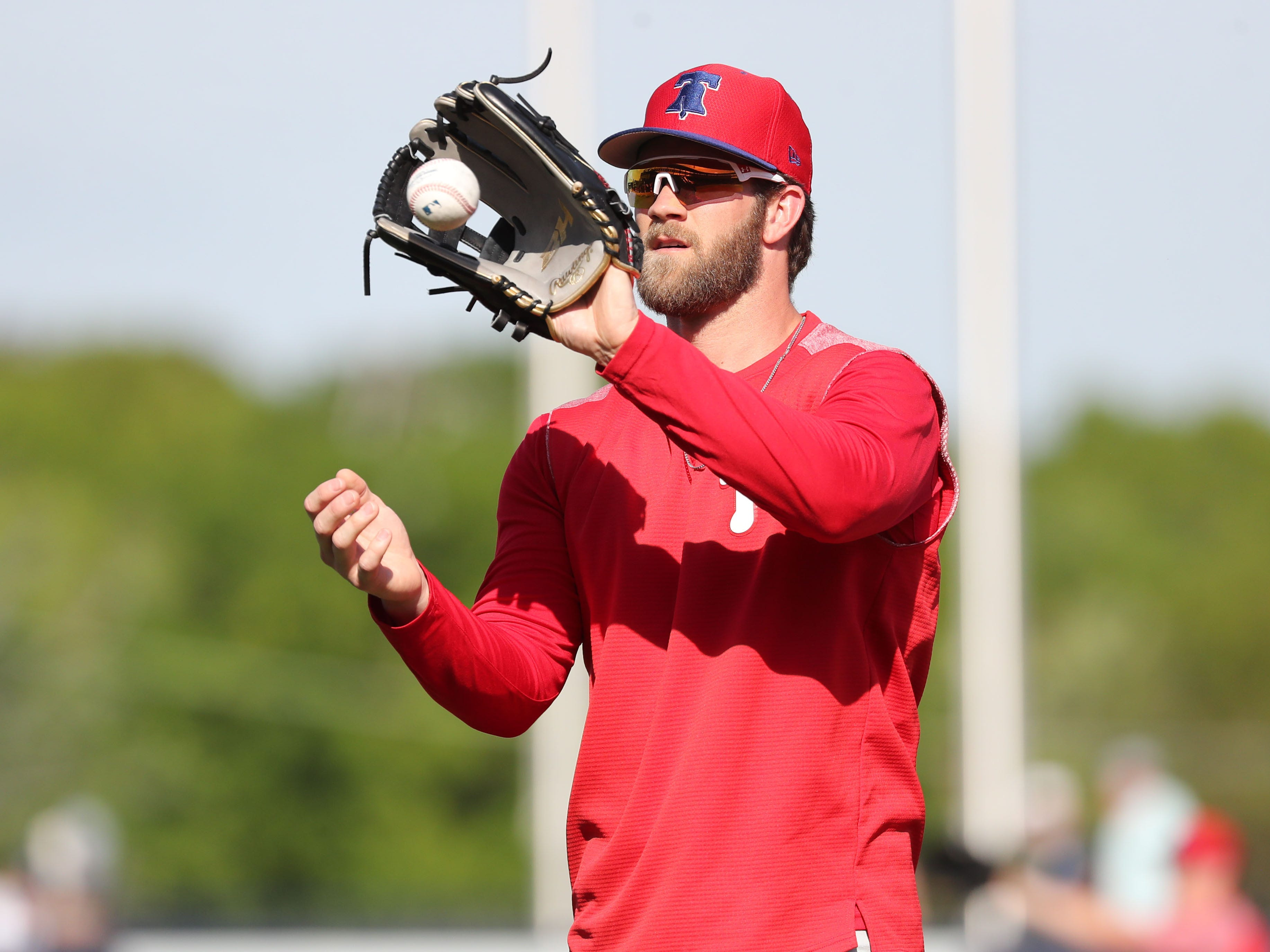 Mar 13, 2019; Tampa, FL, USA; Philadelphia Phillies right fielder Bryce Harper (3) works out prior to the game against the New York Yankees at George M. Steinbrenner Field.