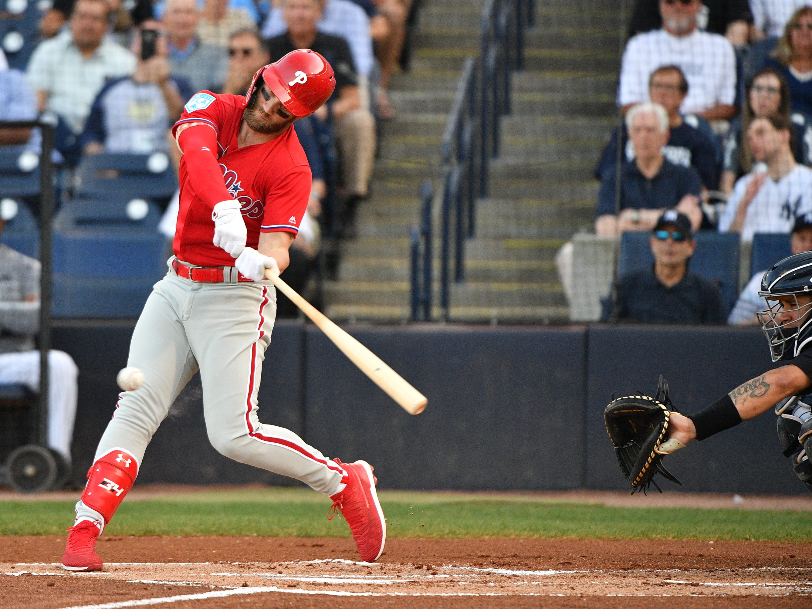 Bryce Harper #3 of the Philadelphia Phillies at bat in the first inning during the spring training game against the New York Yankees at Steinbrenner Field on March 13, 2019 in Tampa, Florida.