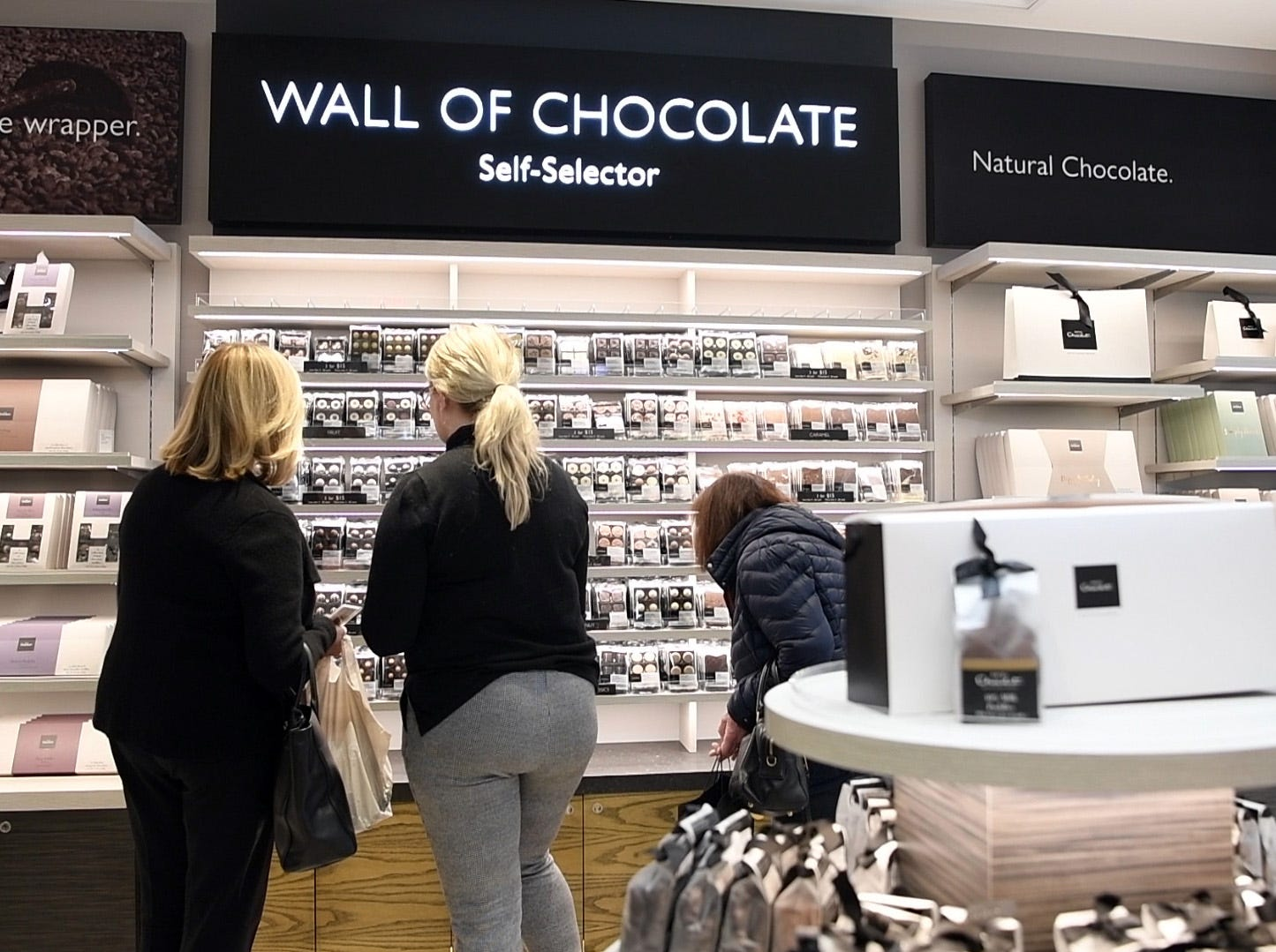 The wall of chocolate at Hotel Chocolat in Westfield Garden State Plaza on Wednesday, March 13, 2019, in Paramus.