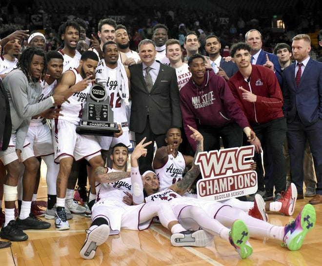 New Mexico State men's basketball coach Chris Jans seeks his second WAC Tournament championship this weekend.