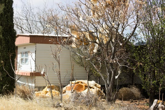 A roof flew off of a mobile home on the 9600 block of Luna Vista Road, east of Las Cruces, Wednesday, March 13, at about 11 a.m.