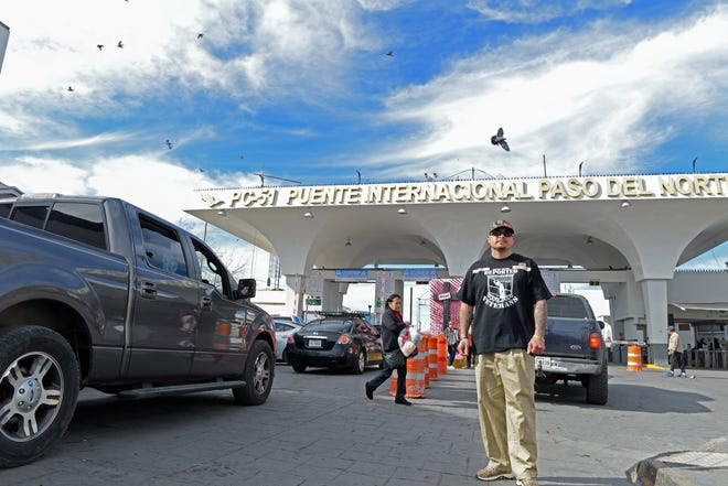 Ivan Ocon, who grew up in Las Cruces but was deported to Mexico for breaking the law, stands near the Paso del Norte Bridge to the United States in Juárez.