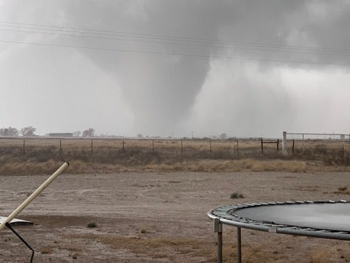 A tornado touches down March 13, 2019, in Hagerman, New Mexico.