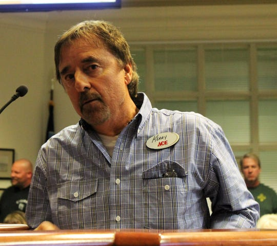 Kerry Maupin addresses the Alamogordo City Commission at their regular meeting March 12.