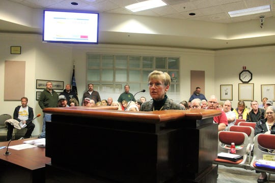 Center for Protective Environment Executive Director Kay Gomolak addresses the Alamogordo City Commission at their regular meeting March 12.