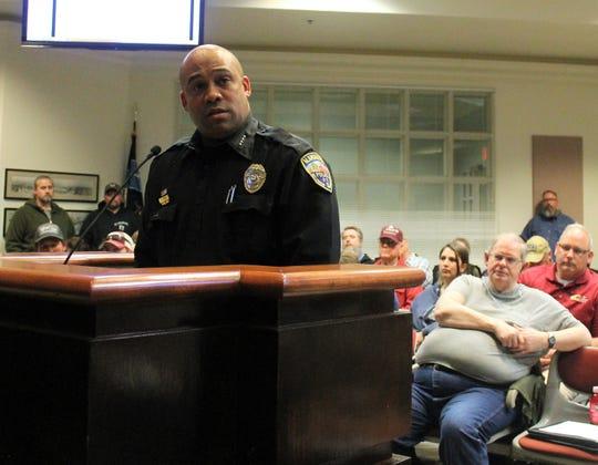 Alamogordo Police Chief Brian Peete addresses the Alamogordo City Commission at their regular meeting March 12.