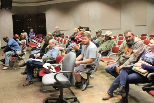 The crowd at the regular Alamogordo City Commission meeting was large that the court room next door to the commission chambers was opened.