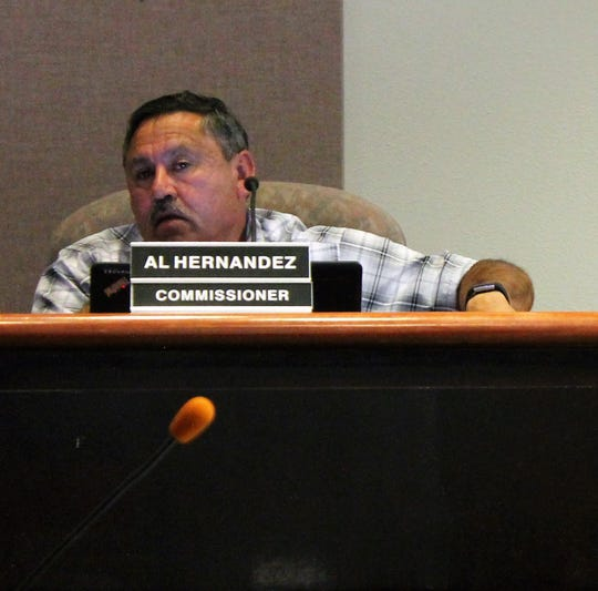 Alamogordo City Commissioner Al Hernandez at the regular Alamogordo City Commission meeting March 12.