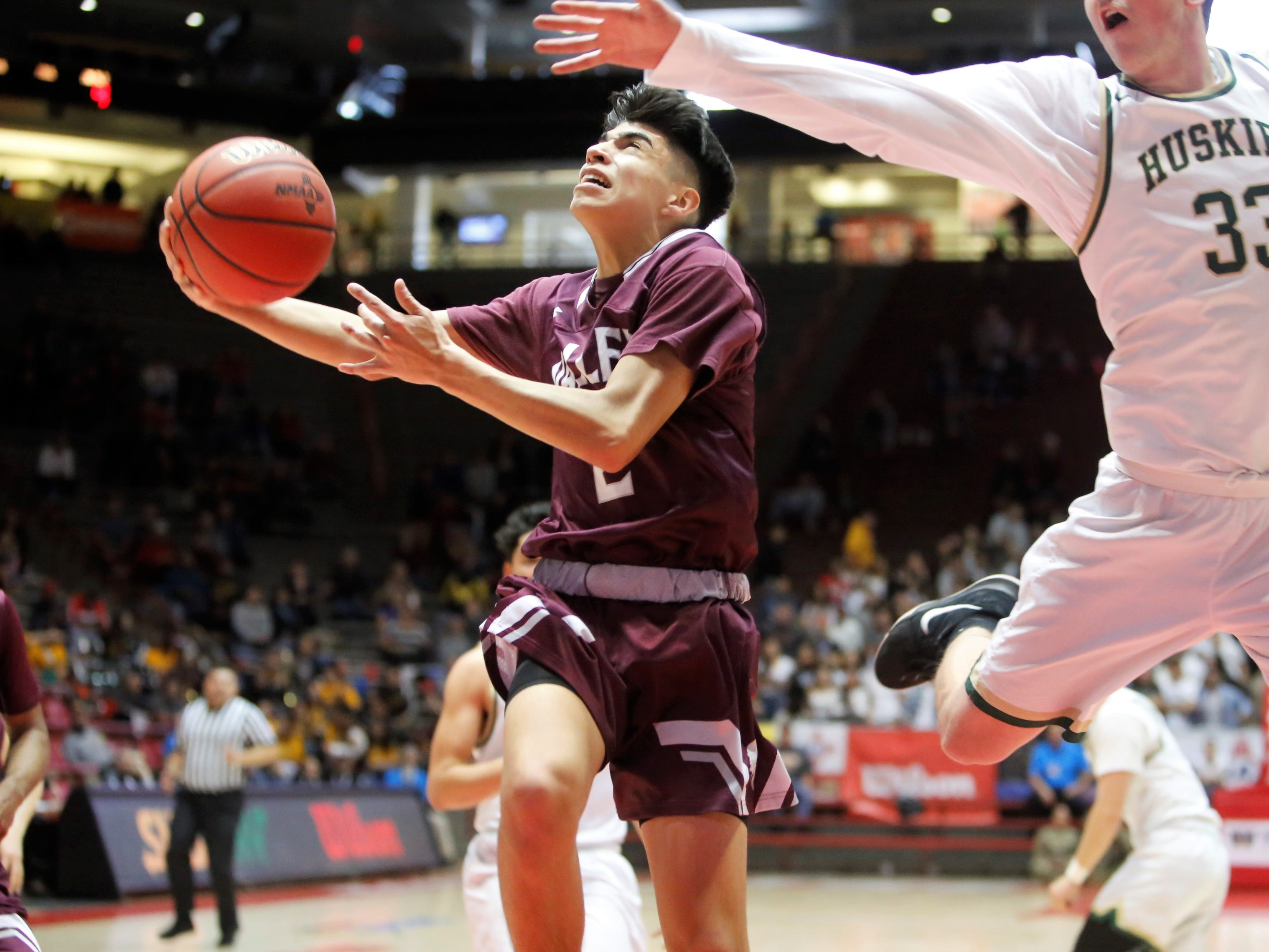 Valley's Derick Chavez drives in for a layup against Hope Christian during Wednesday's 4A state quarterfinals at Dreamstyle Arena in Albuquerque.