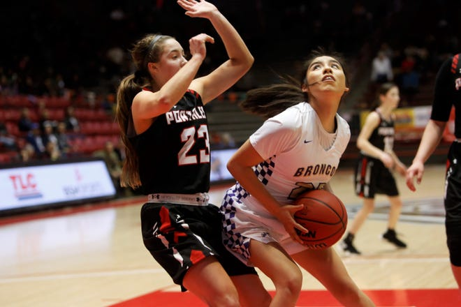 Kirtland Central's Tatelyn Manheimer looks to attack the basket against Portales's Mattison Blakey during Tuesday's 4A state quarterfinals game at Dreamstyle Arena in Albuquerque.