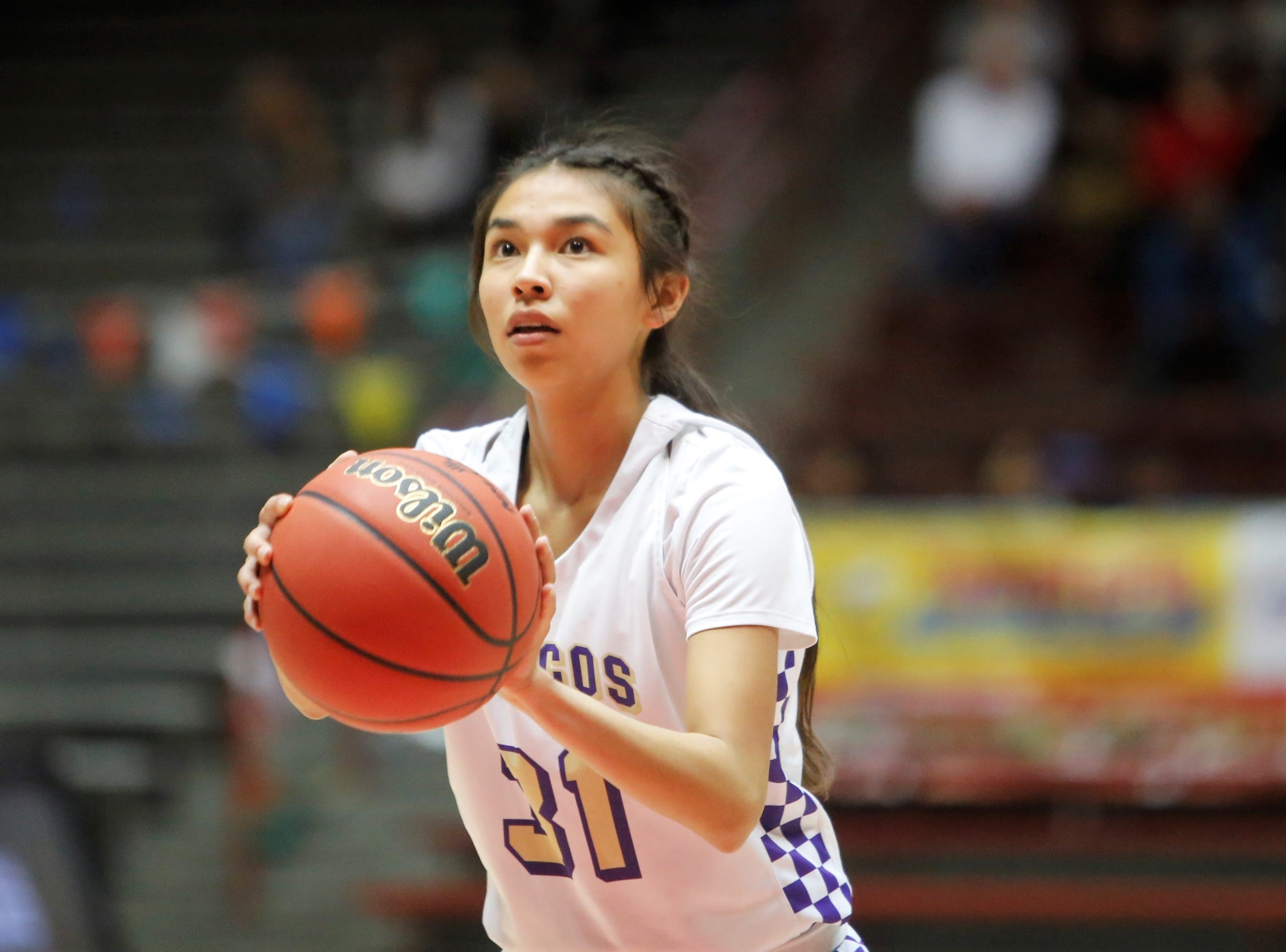 Kirtland Central's Tiajhae Nez shoots a free throw against Portales during Tuesday's 4A state quarterfinals game at Dreamstyle Arena in Albuquerque.