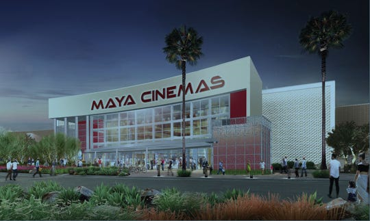 A rendering of the proposed 14-screen Maya Cinemas theater in north Indio. The theater will be built on a vacant lot on Avenue 42 near Monroe.