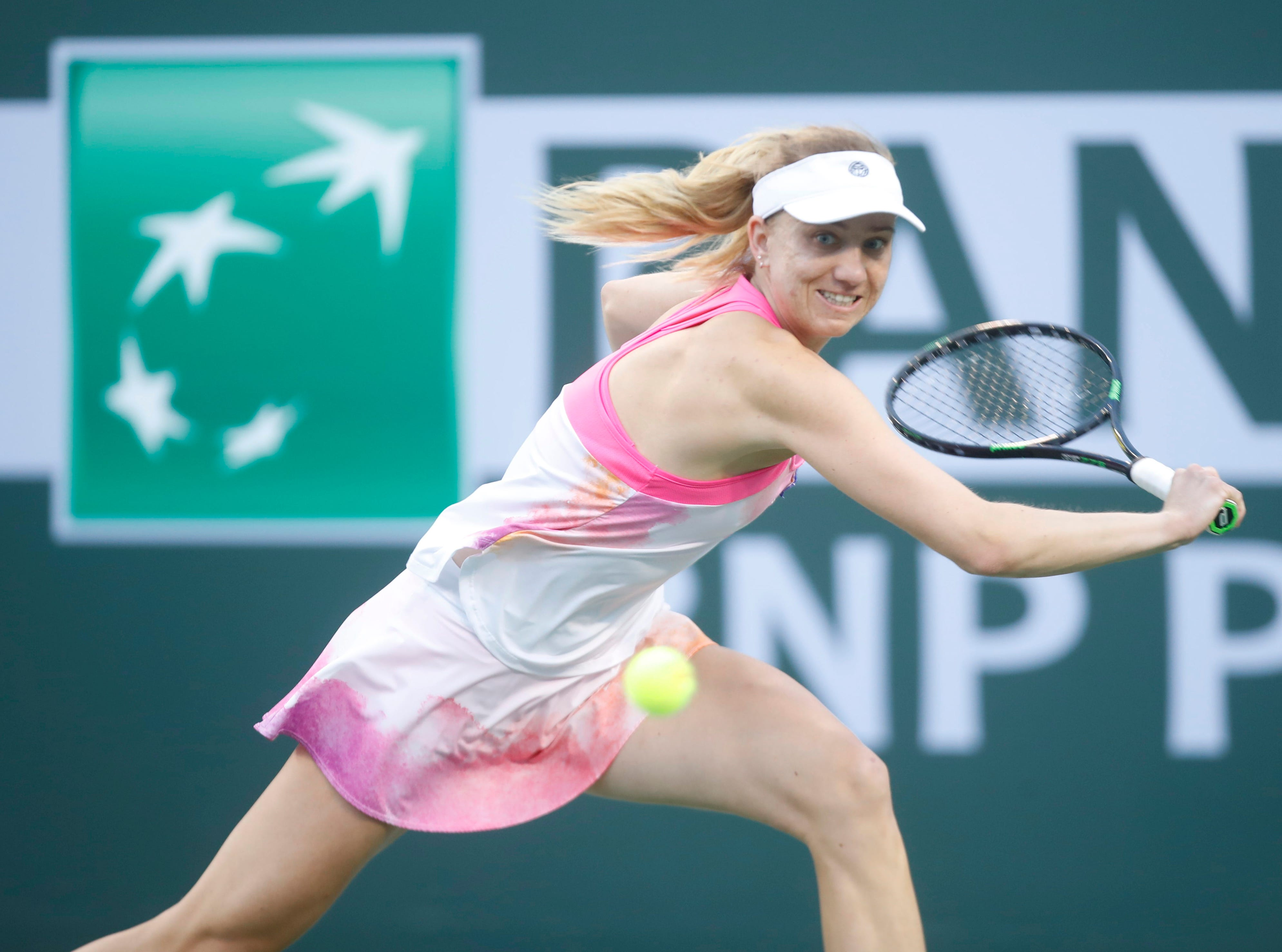 Mona Barthel plays against Venus Williams on Stadium One at the 2019 BNP Paribas Open at Indian Wells Tennis Garden on March 12, 2019. Williams won the match 6-4, 6-4.