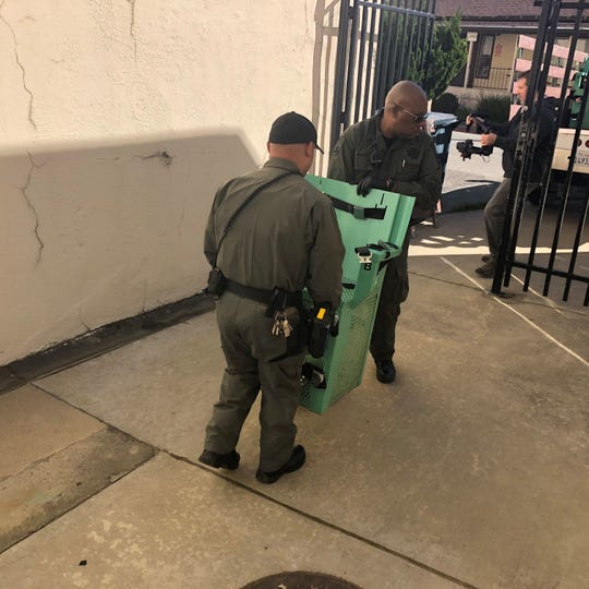 Authorities take down the death chamber in San Quentin State Prison in California on Wednesday, March 13, 2019.