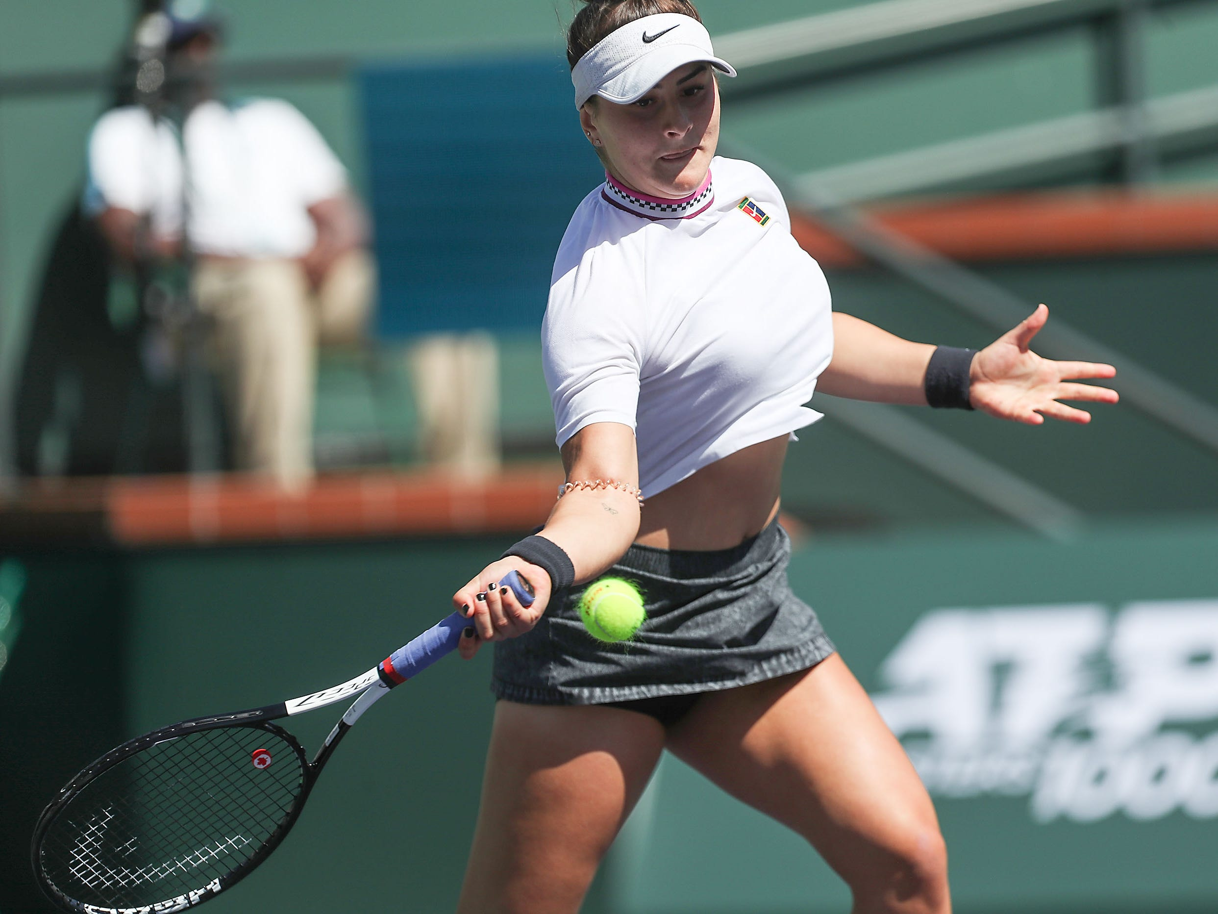 Bianca Andreescu hits during her win over Garbine Muguruza at the BNP Paribas Open in Indian Wells, March 13, 2019.