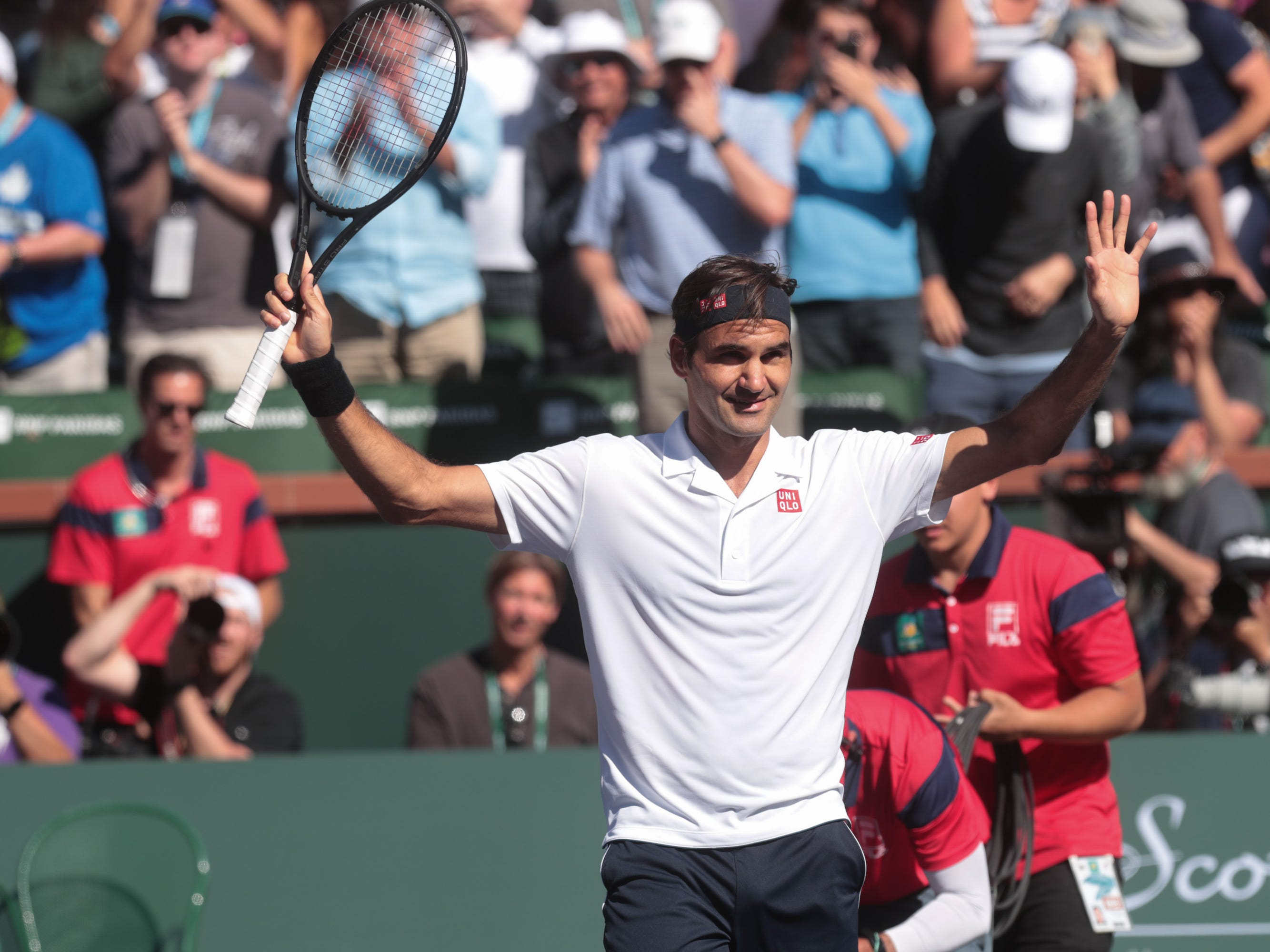 Roger Federer defeats Kyle Edmund at the BNP Paribas Open in Indian Wells, Calif., March 13, 2019.