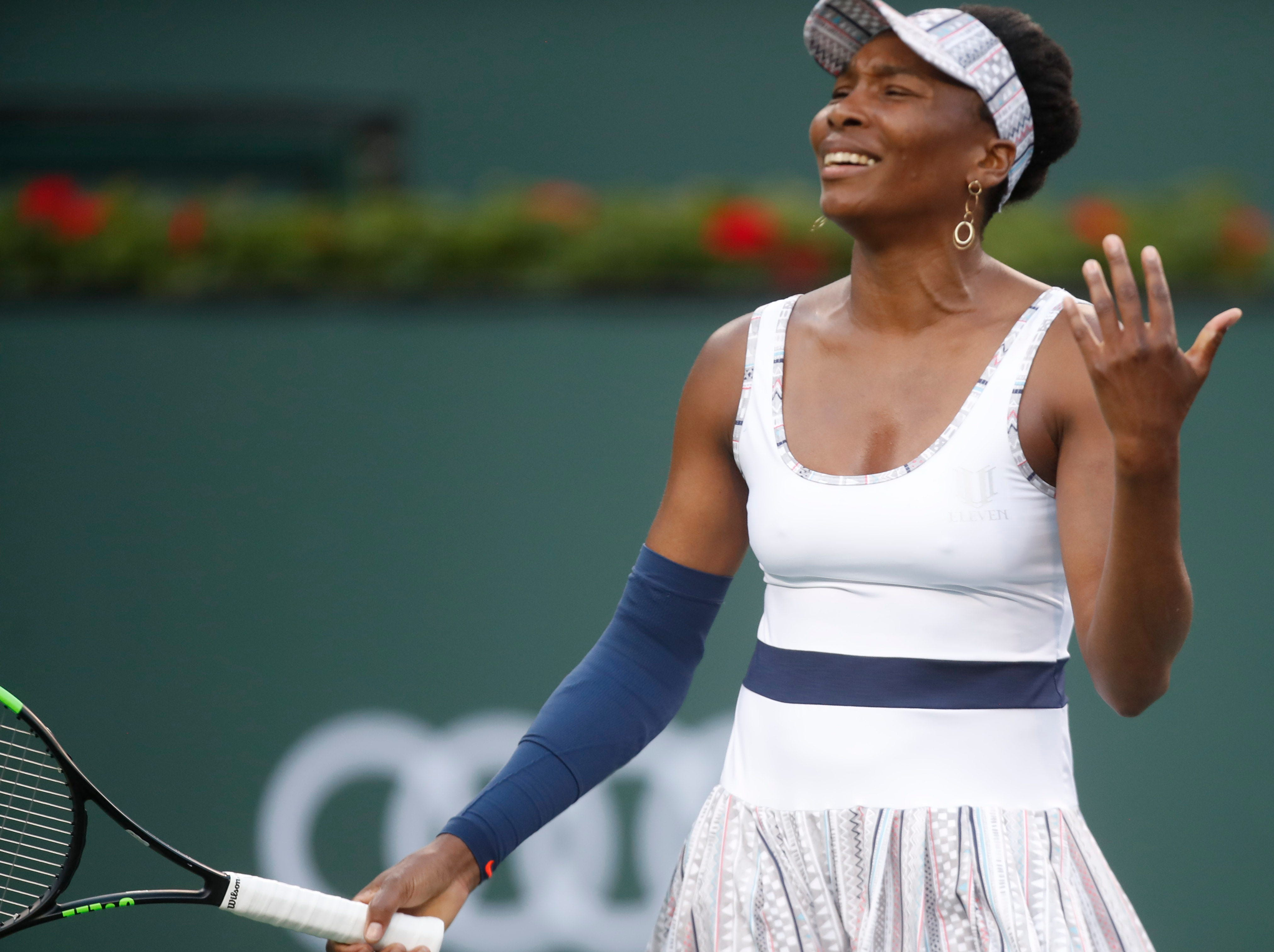 Venus Williams reacts to a lost point to Mona Barthel on Stadium One at the 2019 BNP Paribas Open at Indian Wells Tennis Garden on March 12, 2019. Williams won the match 6-4, 6-4.