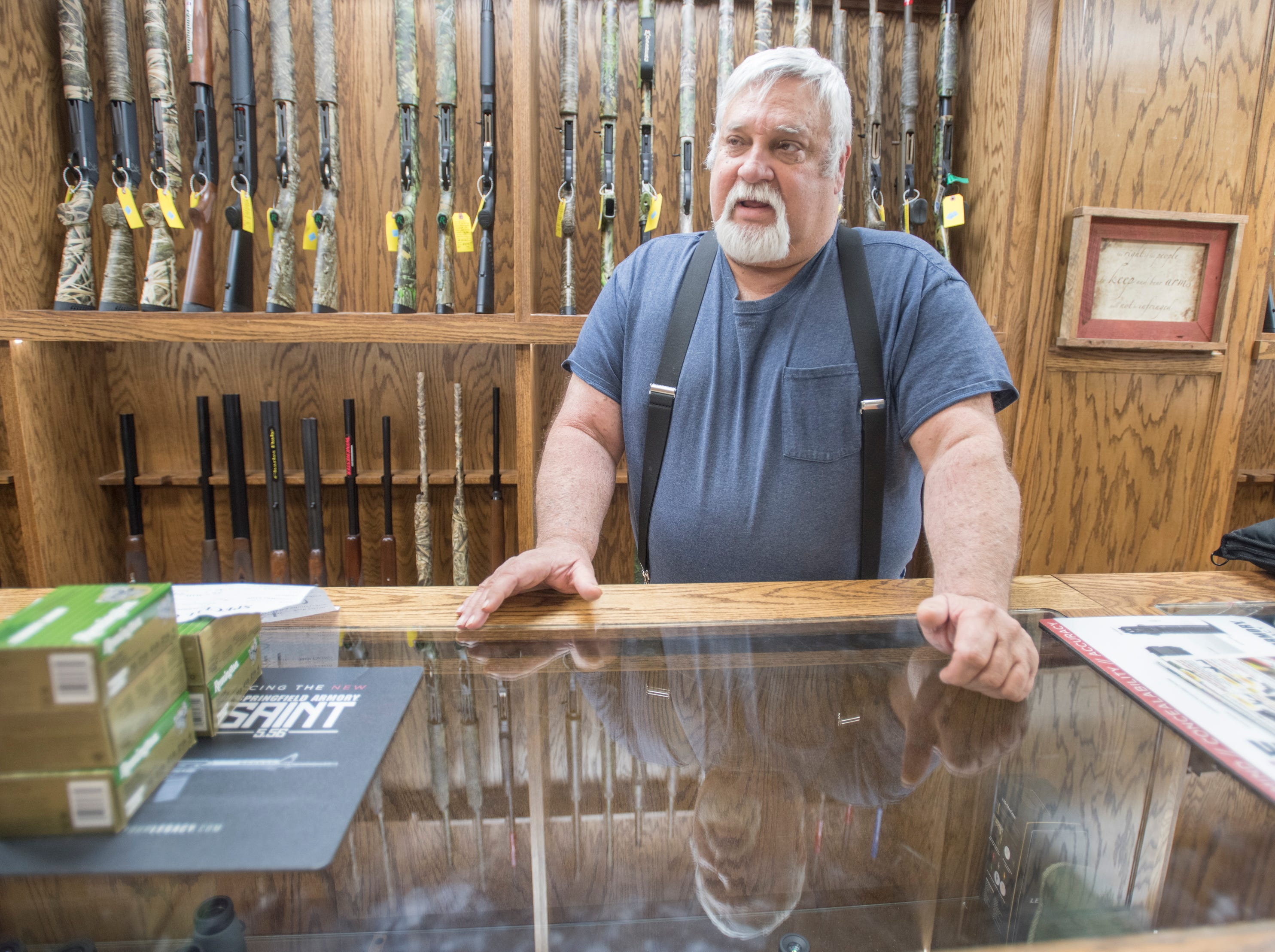 Scott's Outdoors store manager Jim Brown talks about his experience with the March 6th earthquake in Jay, Florida on Wednesday, March 13, 2019.