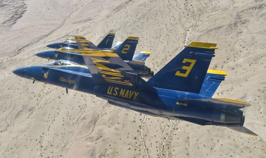 The Blue Angels diamond pilots perform the left echelon parade maneuver over the Imperial Valley during a training flight. The Blue Angels are conducting winter training at Naval Air Facility El Centro, California, in preparation for the 2019 show season.