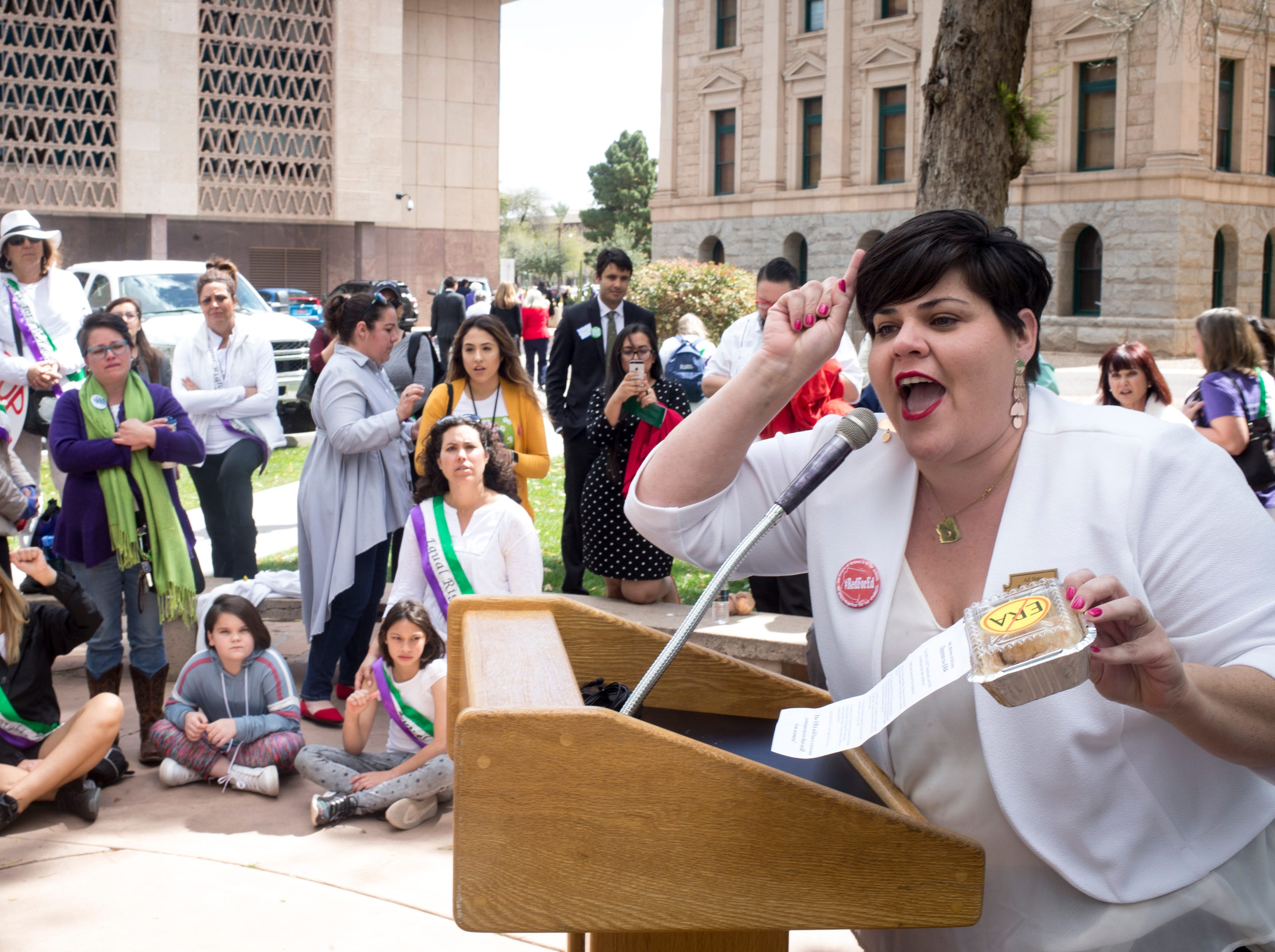Rep. Raquel Teran speaks during an ERA Rally in the Rose Garden March 13, 2019, at the Arizona state Capitol.