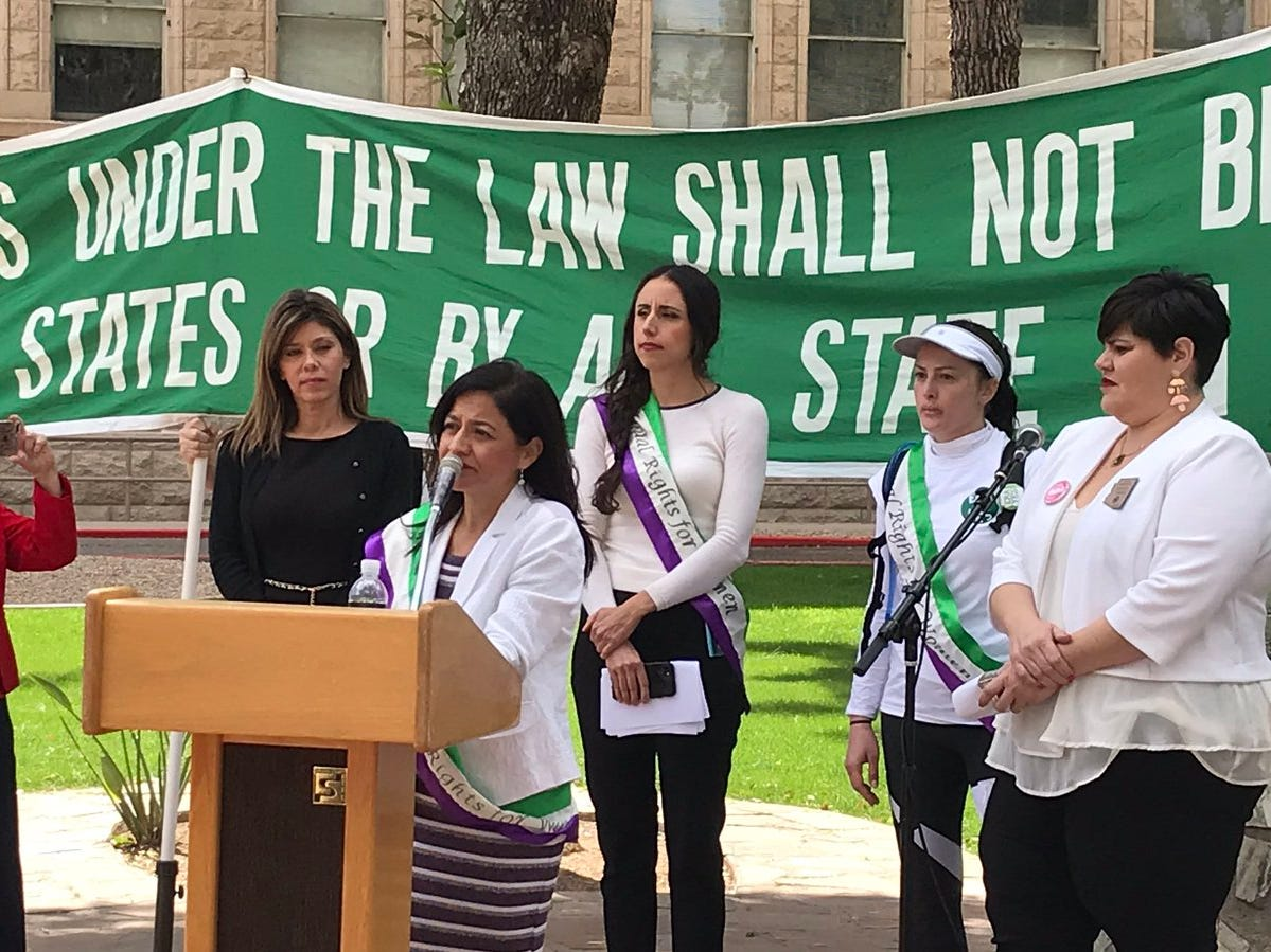Supporters of the Equal Rights Amendment rally at the Arizona Capitol on March 13, 2019.