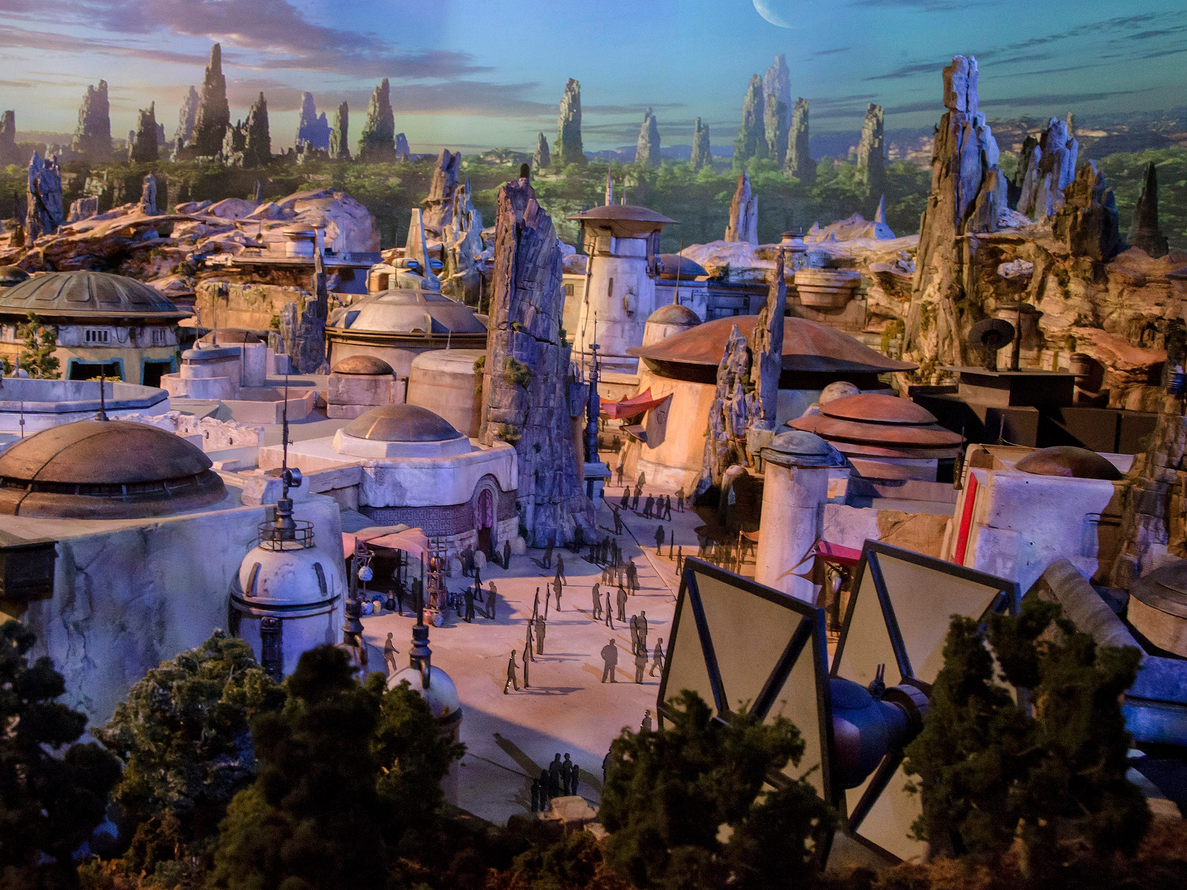 Star Wars: Galaxy's Edge, opening May 31, 2019, at Disneyland, is set in Black Spire Outpost, named for one of the petrified trees that dot the landscape.