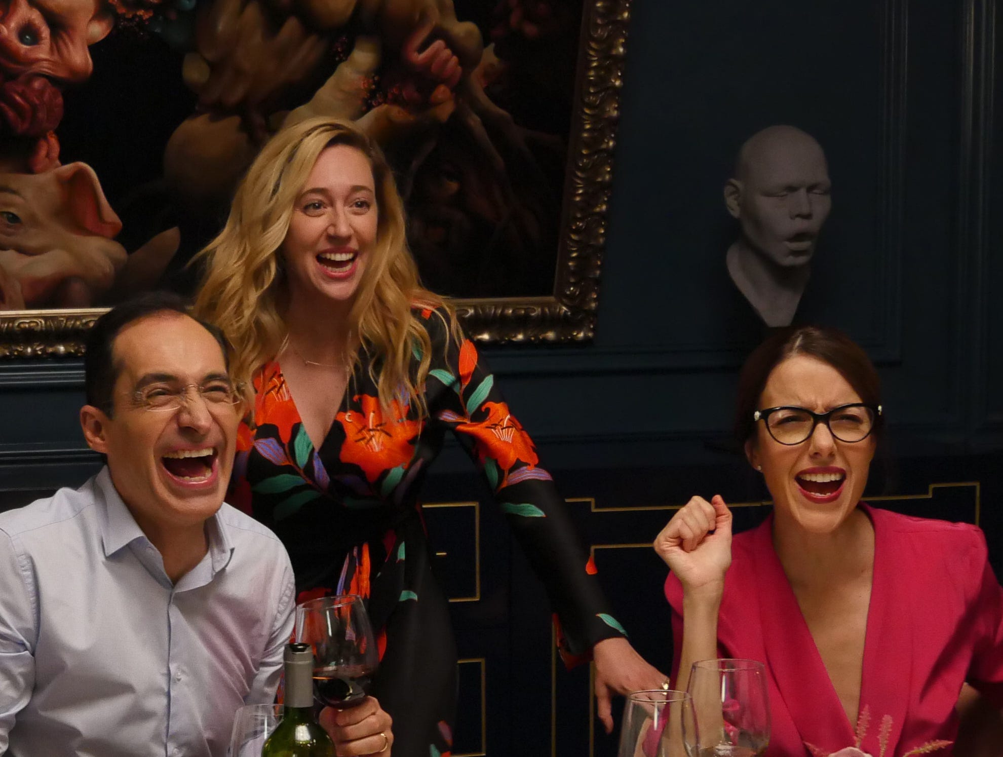 """Bruno Bichir, Ana Claudia Talancón (center) and Cecilia Suárez star in """"Perfectos Desconocidos."""" From the review: """"The dialogue snaps with precision and cringe-worthy humor; at times, you feel like you're having one of those awkward moments in which you watch a couple bicker."""" (four stars)"""