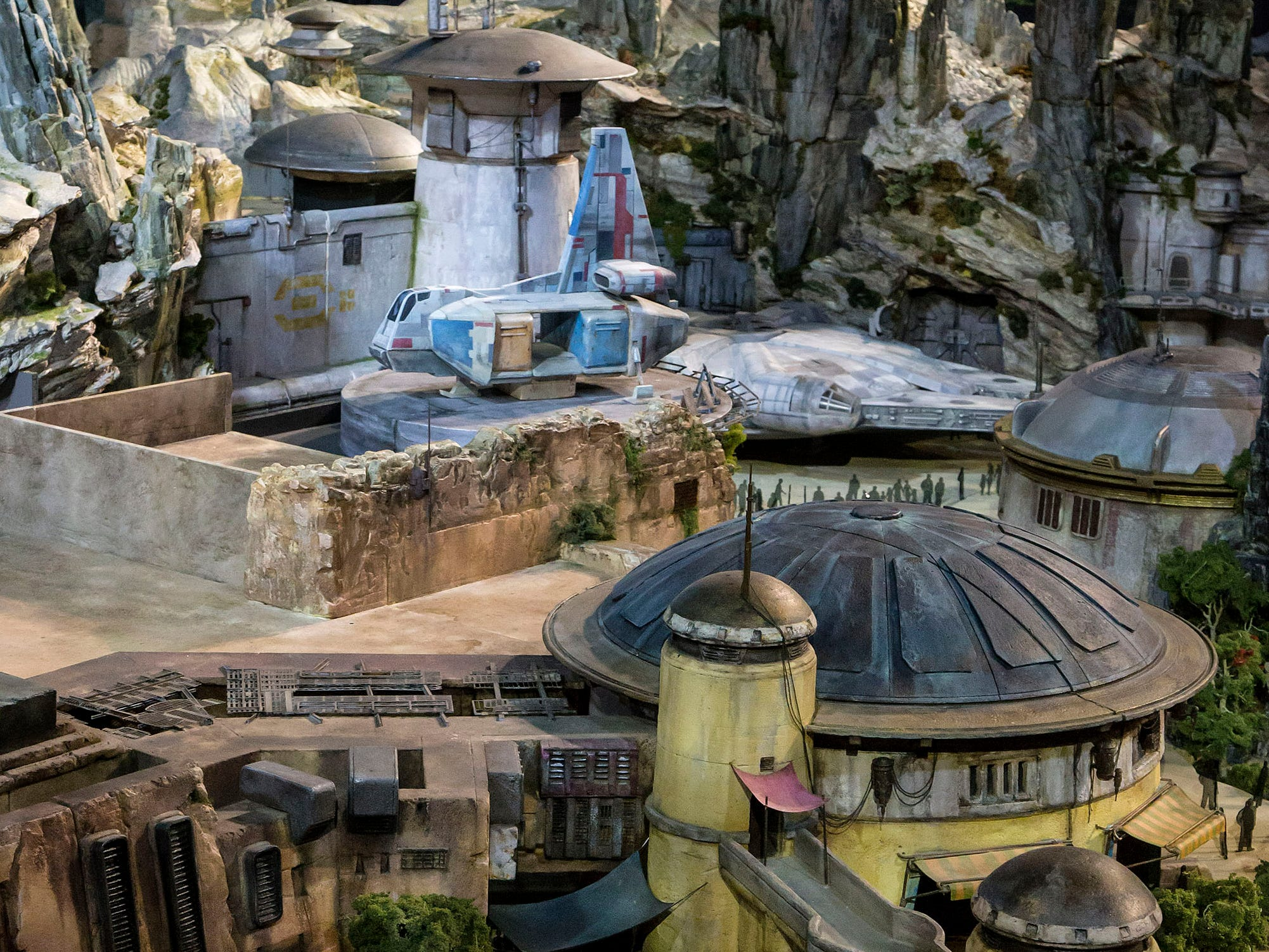 Black Spire Outpost, a village on the remote planet Batuu, is seen in an early model of Star Wars: Galaxy's Edge, which opens May 31, 2019 at Disneyland.